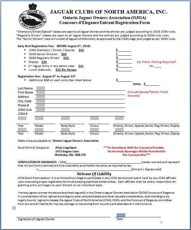 Ojoa Online   Concours Registration Form